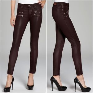 Paige Edgemont Skinny Jeans in Black Cherry Silk